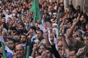 Los gazatíes toman las calles de Gaza contra la nueva ley israelí que planea prohibir la llamada islámica a la oración en Jerusalén, el 17 de noviembre de 2016