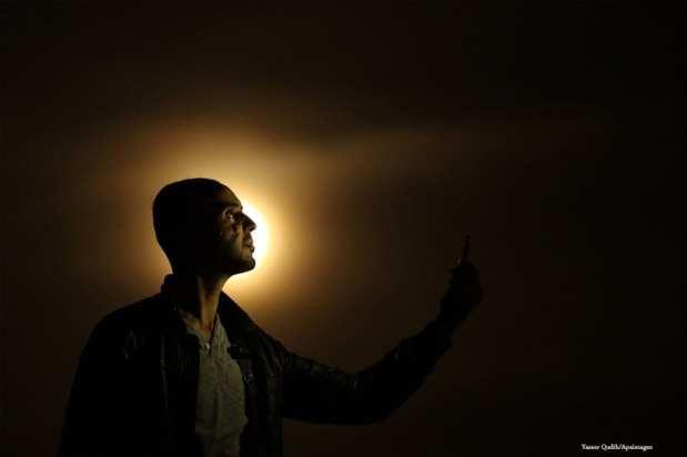 """GAZA: """"Selfi"""" con la superluna."""