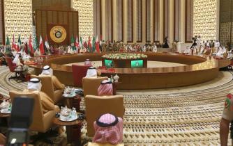 MANAMA, BAHREÍN - 07 de diciembre: Sesión de clausura de la 37 ª Cumbre de Líderes por los Estados miembros del Consejo de Cooperación del Golfo se lleva a cabo en el Palacio de Al-Sakhir en Manama, Bahrein el 6 de diciembre de 2016. (Stringer - Anadolu Agency)