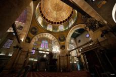 JERUSALEM- Impresionante interior de la Mezquita de la Roca después de las obras de restauración