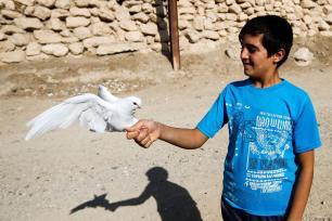 NINAWA, IRAK: Un niño, en un país en guerra, sostiene el símbolo de la paz