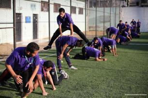 Imagen de un día de entrenamiento por una empresa de seguridad en Gaza [Mohammed Asad / Oriente Medio Monitor]