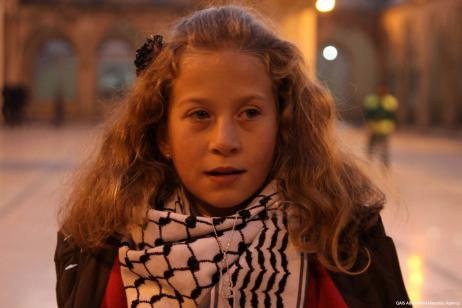 Una foto fechada el 29 de diciembre de 2012 muestra a la niña palestina Ahed al-Tamimi durante su visita a la ciudad turca de Sanliurfa [Agencia Mehmet Guldas / Anadolu]