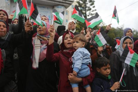 Los palestinos se manifiestan en contra de la decisión de Trump de trasladar la embajada de EE. UU. De Tel Aviv a Jerusalén el 6 de diciembre de 2017 [Mohammed Asad / Middle East Monitor]