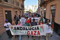 Varias decenas de personas se congregaron en la localidad andaluza de Cádiz para despedir a la embarcación, celebrando una manifestación en apoyo al pueblo palestino en la que se exigía el fin al bloqueo sobre la Franja de Gaza.