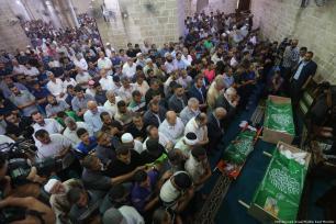 Funeral de los palestinos que fueron asesinados por fuego Israel en la Franja de Gaza [Mohammed Asad / Middle East Monitor]