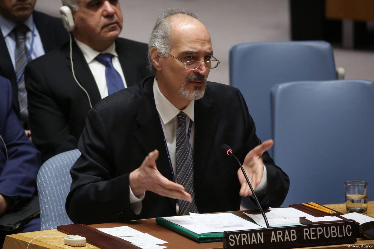 Bashar Al-Jaafari, Representante permanente de la República Árabe Siria ante la ONU en Nueva York, EE. UU. El 14 de abril de 2018 [Agencia Mohammed Elshamy / Anadolu]