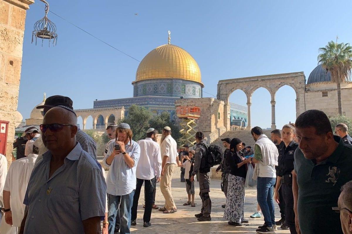 Colonos israelíes vistos en el Complejo de la Mezquita Al-Aqsa, durante la festividad judía de Sucot, el 17 de octubre de 2019 [Kudüs İslami Vakıflar İdaresi / Folleto / Agencia Anadolu]