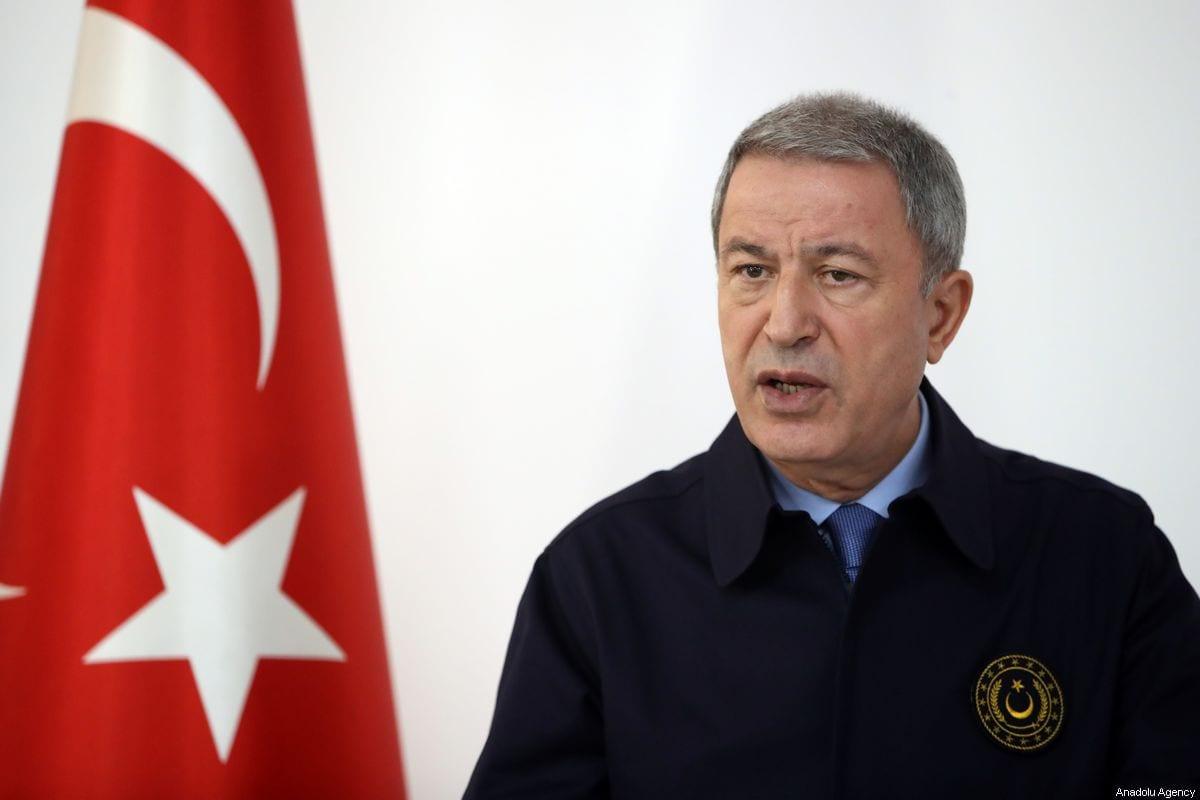 El Ministro de Defensa Nacional de Turquía, Hulusi Akar, en Turquía el 31 de octubre de 2019 [Agencia Arif Akdoğan / Anadolu]