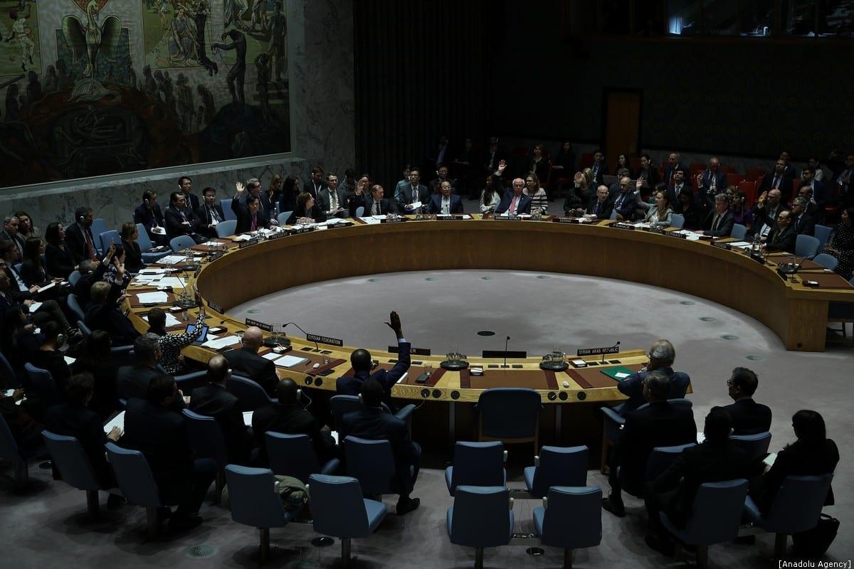 NUEVA YORK, EE. UU. - 10 DE ENERO: Votación celebrada para la resolución de ayuda a Siria en el Consejo de Seguridad de las Naciones Unidas en Nueva York, EE. UU. El 10 de enero de 2020. (Tayfun Coşkun - Agencia Anadolu)