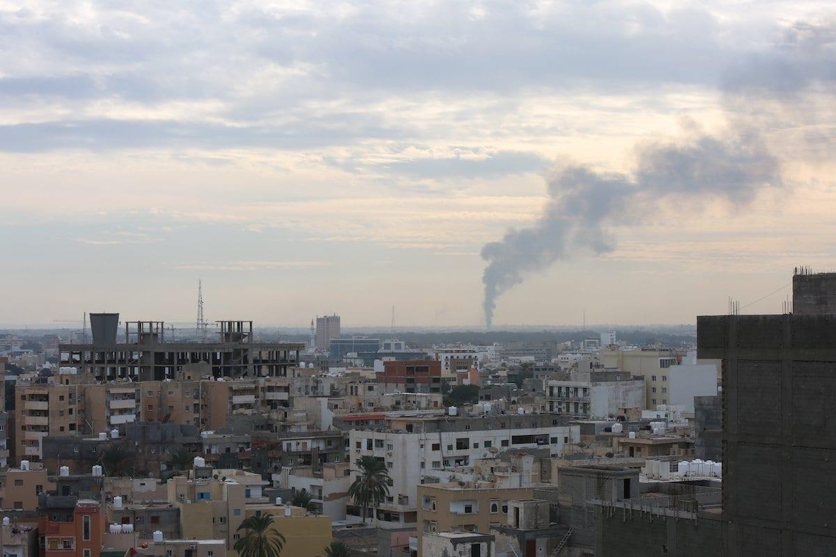 Smoke rises after forces of Khalifa Haftar attacked Tripoli, Libya on 19 January 2020 [Enes Canlı/nadolu Agency]