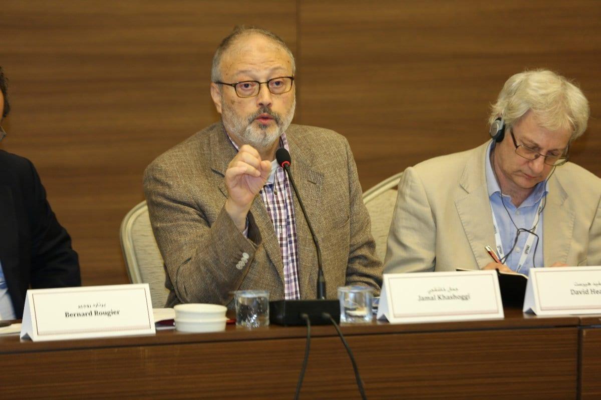 Jamal Khashoggi hablando en la conferencia del Foro de Al Sharq [Al Sharq Forum]