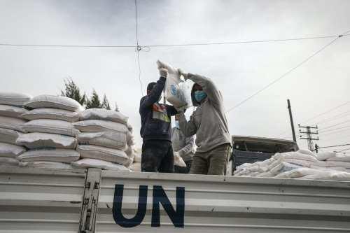 El UNRWA distribuye ayuda alimentaria a las familias de Gaza