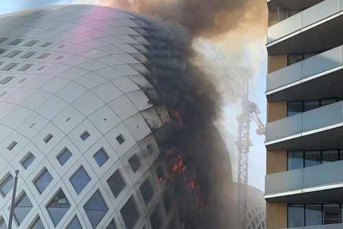 Incendio en el edificio de Zaha Hadid en el centro…