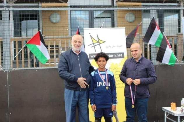 """El evento """"My Return Tournament"""" en apoyo al derecho de retorno de los refugiados palestinos en Londres, el 13 de octubre de 2020 [Mi campaña de retorno]"""