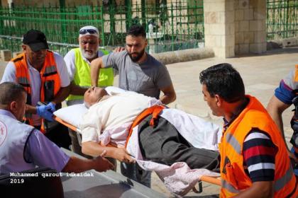 Forças israelenses atacaram fiéis palestinos no complexo da Mesquita de Al-Aqsa, ponto crítico de Jerusalém, no domingo, 11 de agosto de 2019 [PalestinePost24]