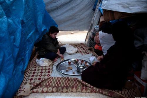 Famílias sírias se abrigam devido a bombardeios em Idlib, Síria, em 28 de dezembro de 2019 [Lale Köklü Karagöz / Agência Anadolu]