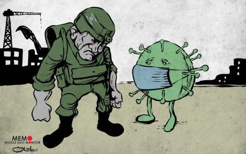 A ocupação e o coronavírus, duas ameaças aos palestinos. [Sabaaneh/ Monitor do Oriente Médio]