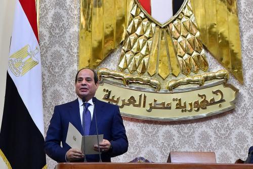 Presidente egípcio Abdel Fattah Al-Sisi no Cairo, Egito, em 2 de junho de 2018 [Gabinete do Presidente Egípcio / Apaimages]