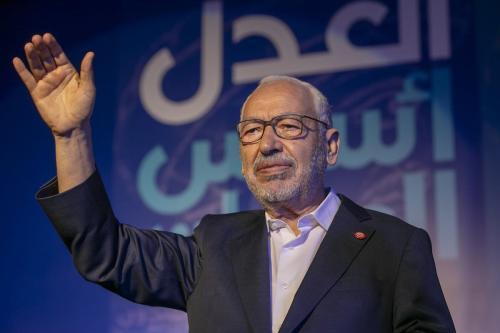 Líder do movimento Ennahda Rachid Al- Ghannouchi em Tunis, Tunísia, em 4 de outubro de 2019 [Yassine Gaidi/ Agência Anadolu]