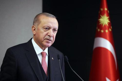 Presidente da Turquia Recep Tayyip Erdogan em coletiva de imprensa após reunião de gabinete, em Istambul, Turquia, 4 de maio de 2020 [Mustafa Kamaci/Agência Anadolu]