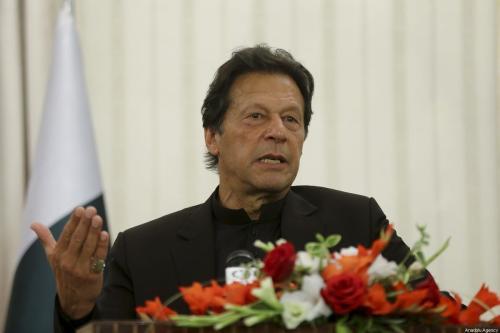 Primeiro-Ministro do Paquistão Imran Khan durante coletiva de imprensa, em Islamabad, Paquistão, 14 de fevereiro de 2020 [Erçin Top/Agência Anadolu]