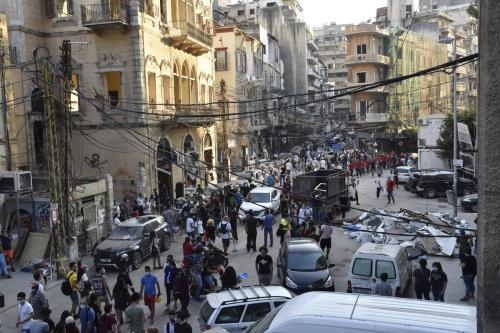 Edifício destruído após explosão no porto de Beirute, Líbano, 6 de agosto de 2020 [Mahmut Geldi/Agência Anadolu]