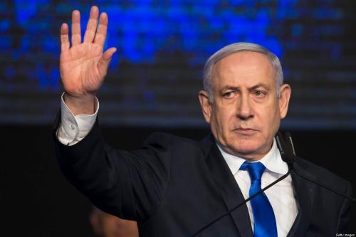 Primeiro-ministro israelense Benjamin Netanyahu em Tel Aviv, em 17 de novembro de 2019 [Amir Levy / Getty Images]