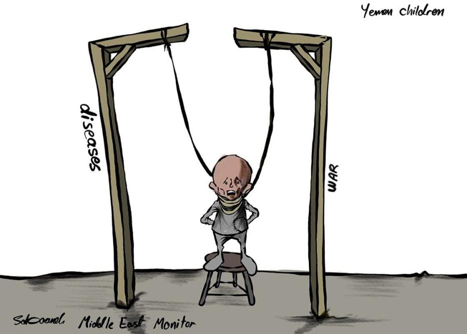 Crianças iemenitas são afetadas pela guerra conduzida pela coalizão saudita [Sabaaneh/Monitor do Oriente Médio]