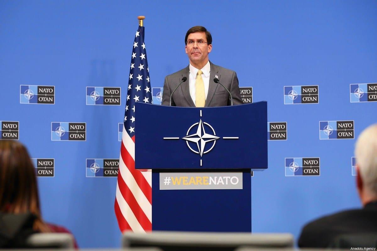 Secretário de Defesa dos Estados Unidos Mark Esper, em Bruxelas, Bélgica, 13 de fevereiro de 2020 [Dursun Aydemir/Agência Anadolu]