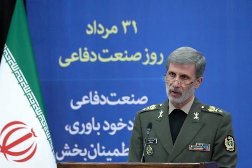 Ministro da Defesa do Irã Amir Hatami durante cerimônia do Dia da Defesa Nacional em Teerã, capital iraniana, em 30 de agosto de 2020 [Presidência do Irã/Agência Anadolu]