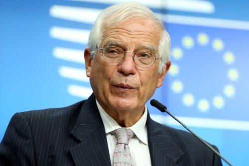 Alto Representante Europeu da União Europeia para os Negócios Estrangeiros e Política de Segurança, Josep Borrell em Bruxelas , Bélgica, em 21 de setembro de 2020 [Agência Dursun Aydemir / Anadolu]