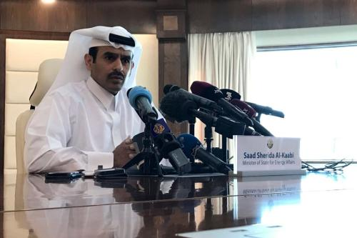 Saad Sherida Al-Kaabi, Ministro de Estado do Catar para Assuntos de Energia, durante uma entrevista coletiva na capital, Doha, em 3 de dezembro de 2018 [Anne Levasseur/ AFP / Getty Images]