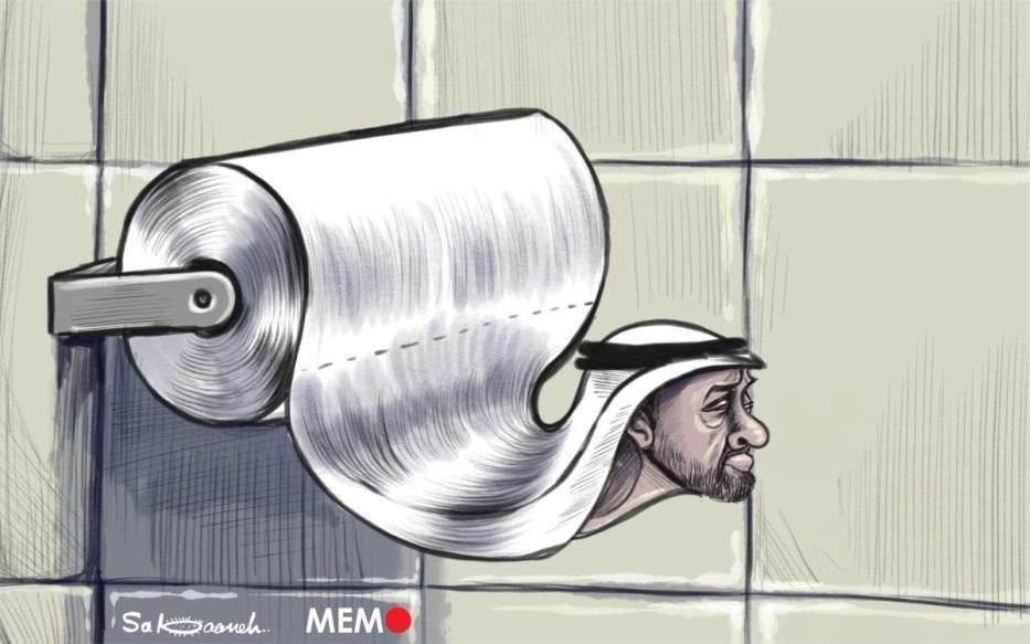 Com o acordo, os Emirados Árabes Unidos abandonam a luta palestina - Charge [Sabaaneh / Monitor do Oriente Médio]