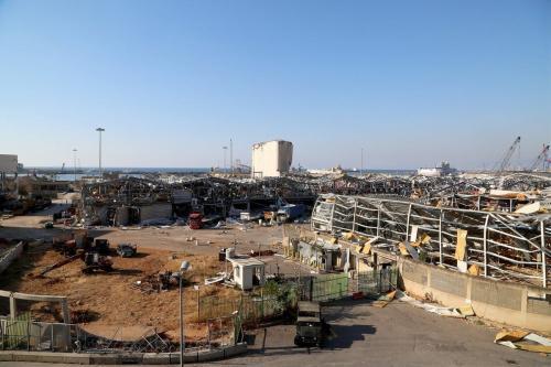 Edifícios danificados após enorme explosão no porto de Beirute, Líbano, em 17 de agosto de 2020 [Enes Canli/Agência Anadolu]