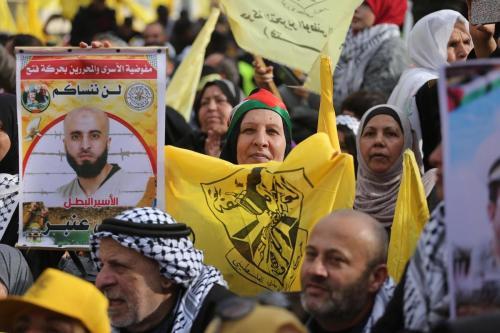 Palestinos se reúnem para apoiar o movimento palestino Fatah na cidade de Gaza, Gaza em 1 de janeiro de 2020 [Mohammed Asad/Monitor do Oriente Médio]