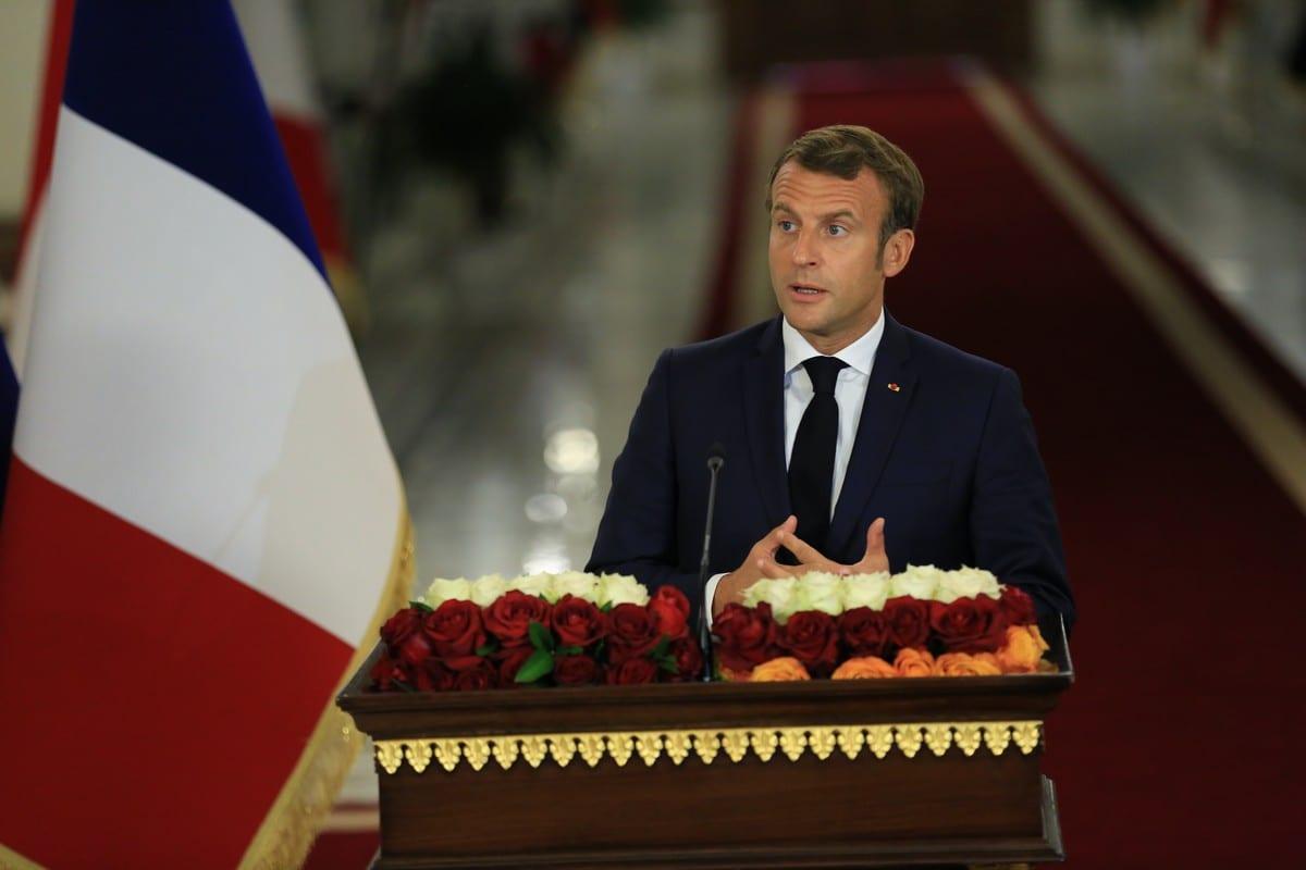 O presidente francês, Emmanuel Macro,n em Bagdá, Iraque em 2 de setembro de 2020 [Agência Murtadha Al-Sudani/ Anadolu]