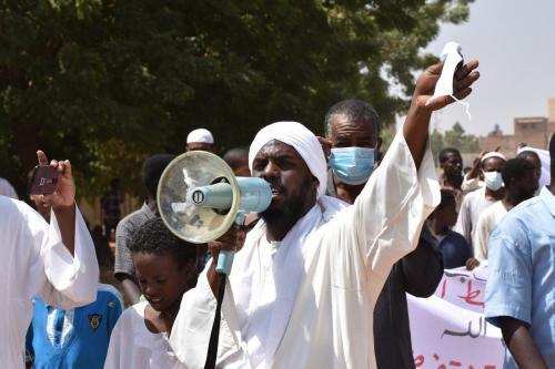 Protesto contra acordo de normalização com Israel em Cartum, Sudão em 25 de setembro de 2020 [Agência Abbas M. Idris / Anadolu]