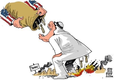 EUA dão armas aos sauditas para bombardear o Iêmen - charge [Carlos Latuff/ Monitor do Oriente Médio]