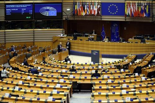 Parlamento Europeu em Bruxelas, Bélgica, 20 de outubro de 2020 [Dursun Aydemir/Agência Anadolu]