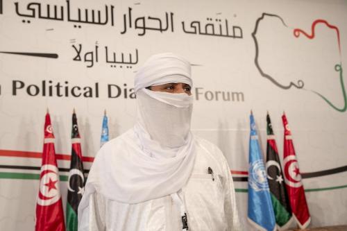 Facções líbias participam de sessão de abertura do Fórum de Diálogo Político da Líbia, em Túnis, Tunísia, 9 de novembro de 2020 [Yassine Gaidi/Agência Anadolu]