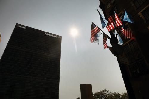 Edifício das Nações Unidas em Manhattan, Nova Iorque, no primeiro dia oficial da 75ª Assembleia Geral da ONU, em 22 de setembro de 2020 [Spencer Platt/Getty Images]