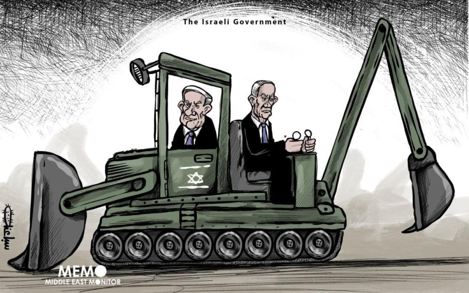 O governo israelense: coalizão Netanyahu-Gantz - Cartoon [Sabaaneh / Monitor do Oriente Médio]