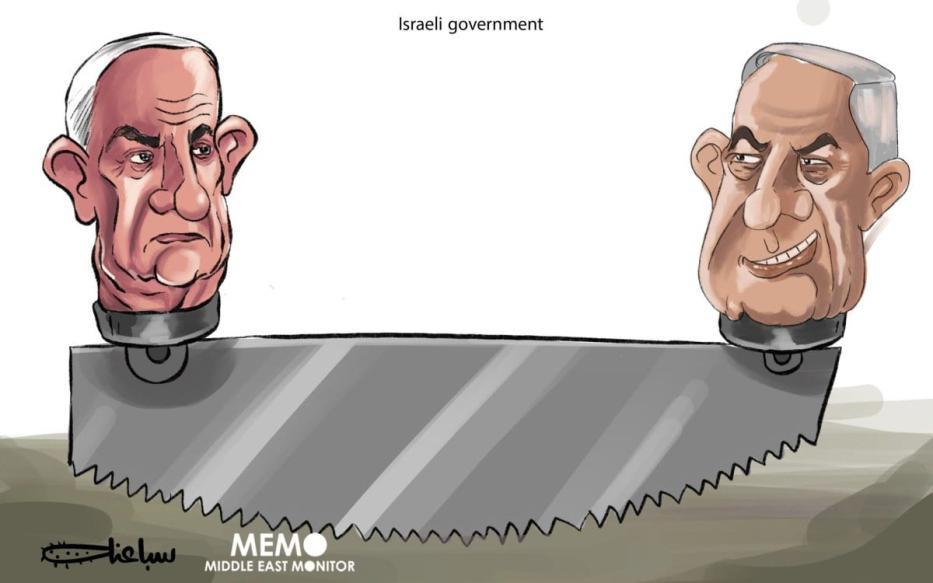 Gantz e Netanyahu: aguardando as consequências da formação do governo israelense - Cartoon [Sabaaneh / Monitor do Oriente Médio]