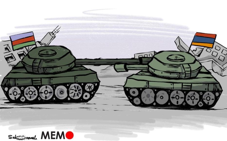Armênia e Azerbaijão lutando contra a fúria - charge [Sabaaneh / Monitor do Oriente Médio]