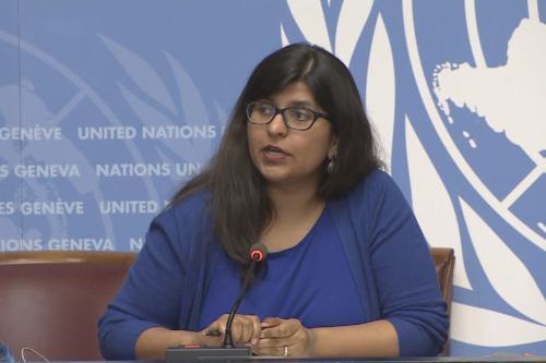 Ravina Shamdasani, porta-voz do Escritório da ONU do Alto Comissariado das Nações Unidas para os Direitos Humanos (OHCHR) visto em 11 de maio de 2018 em Genebra, Suíça [screengrab / UNifeed]