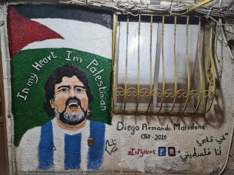 Mural pintado em uma parede no acampamento palestino de Baddawi [Foto cortesia para Monitor do Oriente Médio]