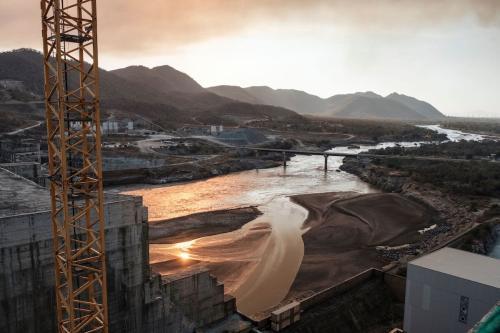Panorama do Rio Nilo e da Grande Represa do Renascimento, construída pela Etiópia, em 26 de dezembro de 2019 [Eduardo Soteras/AFP/Getty Images]