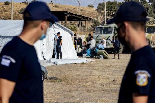 Campo de refugiados na ilha de Lesbos, Grécia, 12 de setembro de 2020 [Niels Wenstedt/Agência BSR/Getty Images]