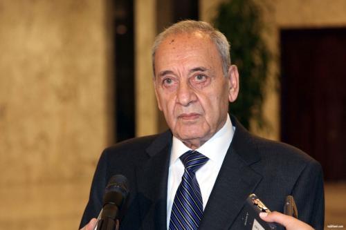 Nabih Berri, Presidente do parlamento do Líbano Presidente do Parlamento Libanês Nabih Berri no Líbano [Foto de arquivo]